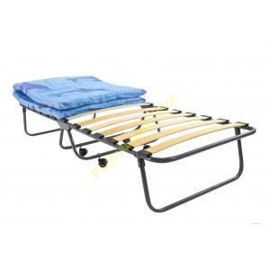 Кровать раскладная на ламелях, на колёсах с матрасом, труба 25мм, ширина 80см